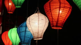 Asian lanterns in downtown stock video footage