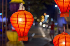Asian lanterns in downtown Royalty Free Stock Images