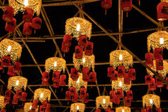 Asian Lanterns Festival. Asian traditional laterns at New Year festival nights in Vietnam. The chinese letter on the lanterns mean Happiness Royalty Free Stock Images