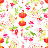 Asian lanterns, fuchsia and fans seamless vector pattern Royalty Free Stock Photography