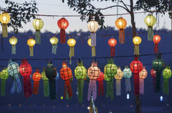 Asian lanterns. Hanging in festival Royalty Free Stock Image