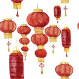 Asian lanterns seamless pattern. Seamless watercolor background. Watercolor painting. stock photo