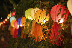 Asian lanterns on vine fence. Colorfull asian lanterns on vine fence Royalty Free Stock Image