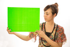 Asian Latina girl woman holding message board. White background studio Stock Photos