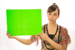Asian Latina girl woman holding message board. White background studio Royalty Free Stock Photography