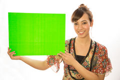 Asian Latina girl woman holding message board. White background studio Stock Photography