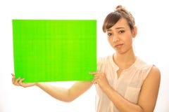 Asian Latina girl woman holding message board Stock Photos