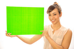 Asian Latina girl woman holding message board Royalty Free Stock Photo