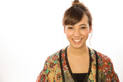 Asian Latina girl woman smiling face. White background studio Stock Photography