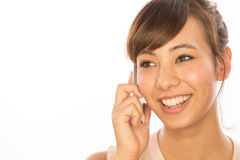 Asian Latina girl woman talking on cellphone Stock Images