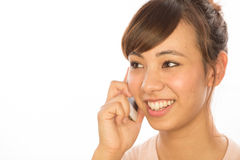 Asian Latina girl woman talking on cellphone Royalty Free Stock Photo