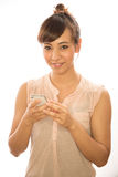 Asian Latina girl woman texting cellphone Royalty Free Stock Image