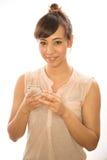 Asian Latina girl woman texting cellphone Royalty Free Stock Image