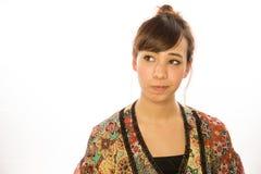 Asian Latina girl woman thinking Stock Photo