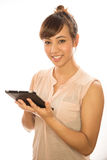 Asian Latina girl woman using tablet pc Stock Photos