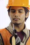 Asian latino hard hat worker Stock Photos