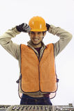 Asian latino hard hat worker Royalty Free Stock Images