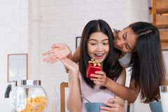 Asian lesbian couple surprise by giving gift for anniversary of love at kitchen breakfast time at home.LGBTQ lifestyle concept.  stock photography
