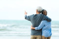 Free Asian Lifestyle Senior Couple Hug On The Beach Happy In Love Romantic And Relax Time. Tourism Elderly Family Travel Leisure And Royalty Free Stock Images - 156925569