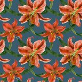 Asian lily watercolor seamless pattern