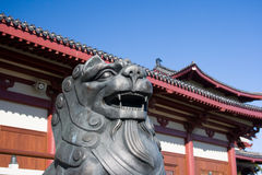 Asian lion sculpture. Asian temple in Auckland, New Zealand stock image