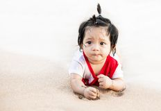 Asian little baby girl at beach Stock Image