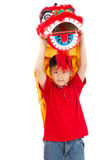 Asian Little Boy in Chinese Lion Custome Dance During Chinese Ne Royalty Free Stock Image