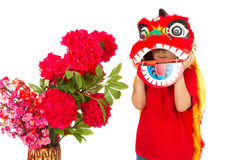 Asian Little Boy in Chinese Lion Custome Dance During Chinese Ne Stock Images