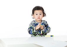 Asian little boy drawing Stock Images