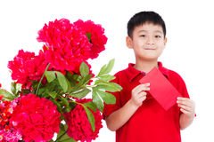Asian Little Boy Holding a Red Envelope. Isolated on White Background Stock Photos