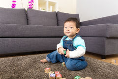Asian little boy play toy block Royalty Free Stock Image