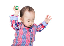 Asian little boy play with toy block Stock Image