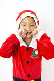 Asian little boy in red santa and red hat on white background Stock Image
