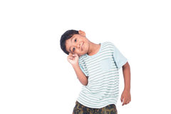 Asian little boy smile and thinking Stock Images