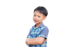 Asian little boy smiles on white background Royalty Free Stock Photos
