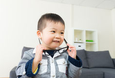 Asian little boy wear glasses Royalty Free Stock Photos