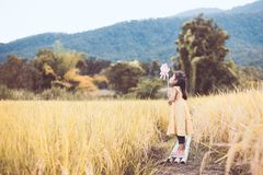 Asian little child girl playing and blowing with wind turbine. Cute asian little child girl playing and blowing with wind turbine in the paddy field in vintage Royalty Free Stock Photos