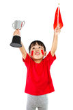 Asian Little Chinese Girl Celebrating Victory with a Trophy and. Asian Little Chinese Girl Celebrating Victory with a Trophy in Her Hands Isolated on White stock images