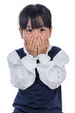 Asian Little Chinese Girl covering her face Royalty Free Stock Image