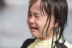 Asian Little Chinese Girl crying in Swimming Pool Stock Images