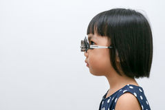 Asian Little Chinese Girl Doing Eyes Examination Royalty Free Stock Images