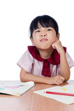 Asian Little Chinese girl drawing with color pencils Stock Photo