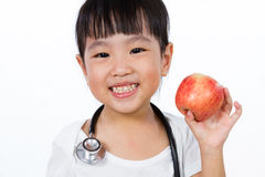 Asian Little Chinese Girl Dressed up as Doctor with a Stethoscop Royalty Free Stock Photos