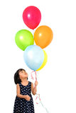 Asian Little Chinese Girl Holding Colorful Balloons Royalty Free Stock Photos