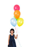 Asian Little Chinese Girl Holding Colorful Balloons Stock Photography