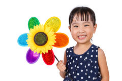 Asian Little Chinese Girl Holding Colorful Windmill Royalty Free Stock Photo