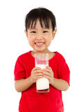 Asian Little Chinese Girl Holding a cup of Milk Stock Photo