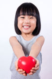 Asian Little Chinese Girl Holding Red Heart Royalty Free Stock Photos