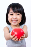 Asian Little Chinese Girl Holding Red Heart Stock Image