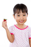 Asian Little Chinese Girl Holding Strawberry Royalty Free Stock Images